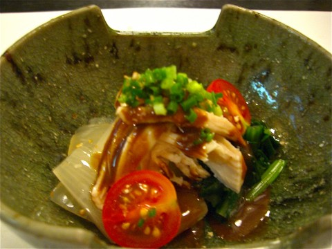 小松菜 玉葱 蒸し鶏の味噌掛け