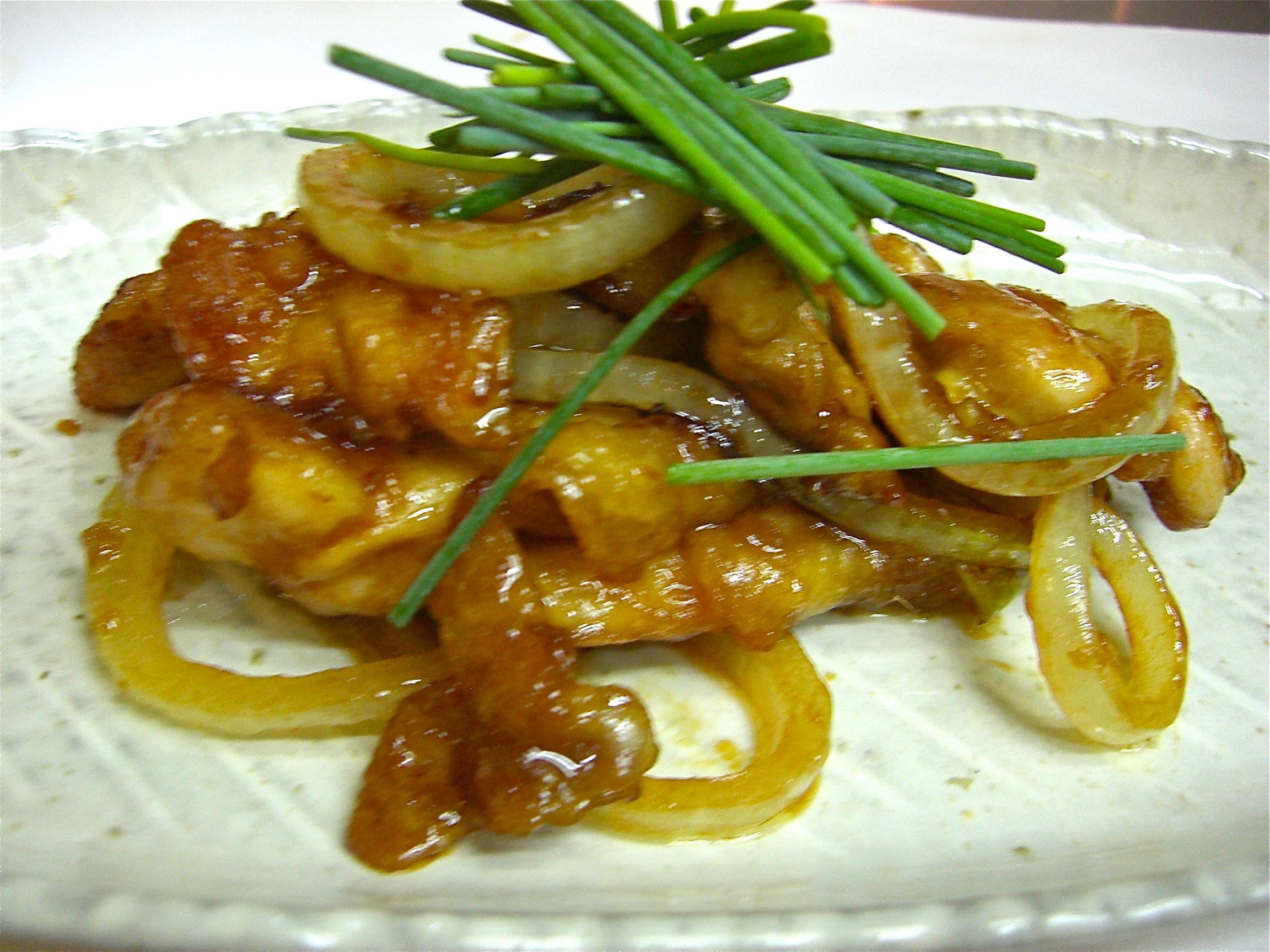 地鶏と玉葱の生姜焼き(地鶏料理8)