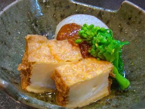 大根と絹揚げ甘煮 鶏味噌掛け