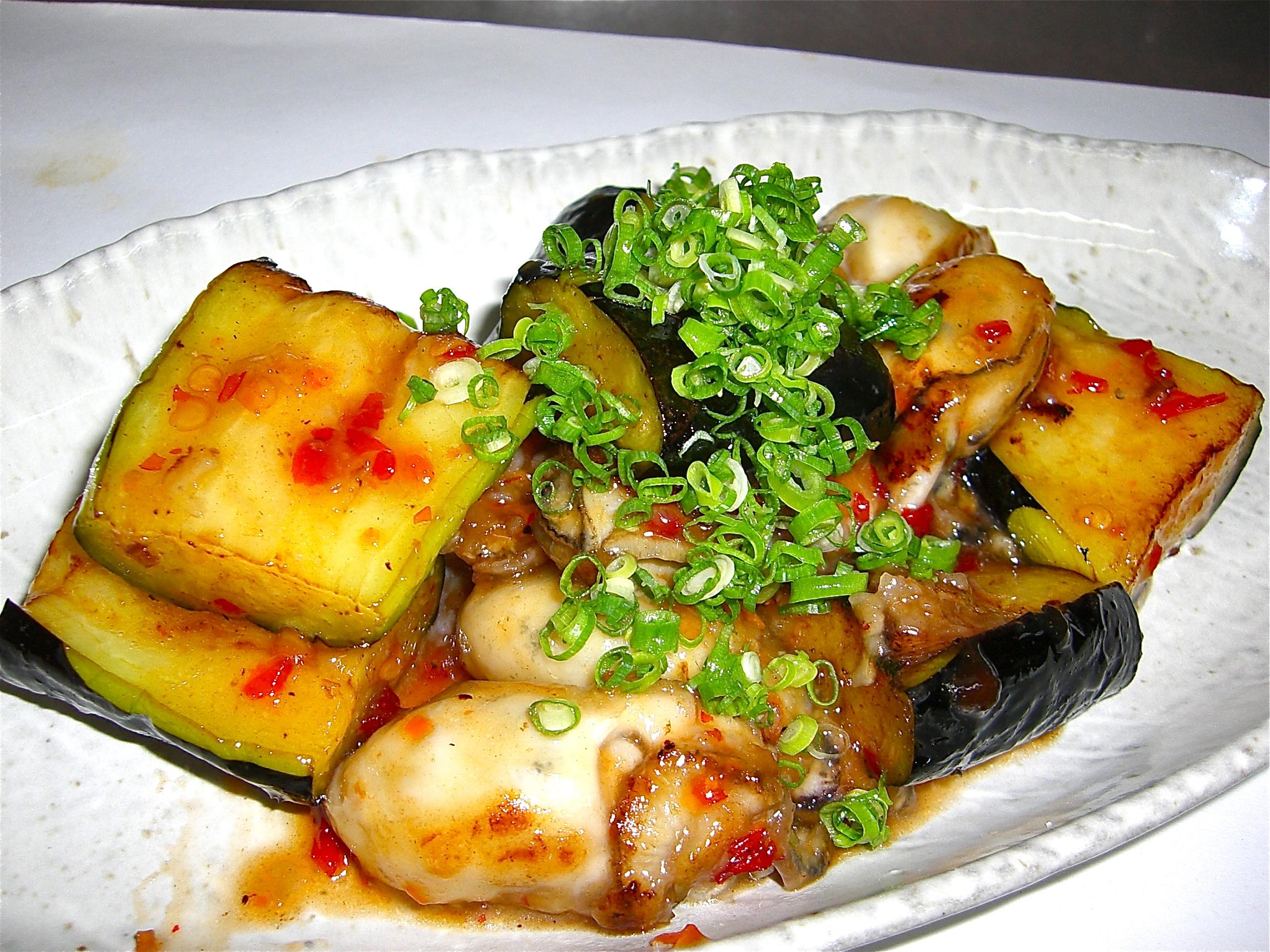 かき 茄子チリソース炒め(かき料理3)