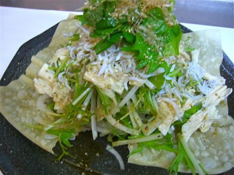 水菜 湯葉 しらすサラダ