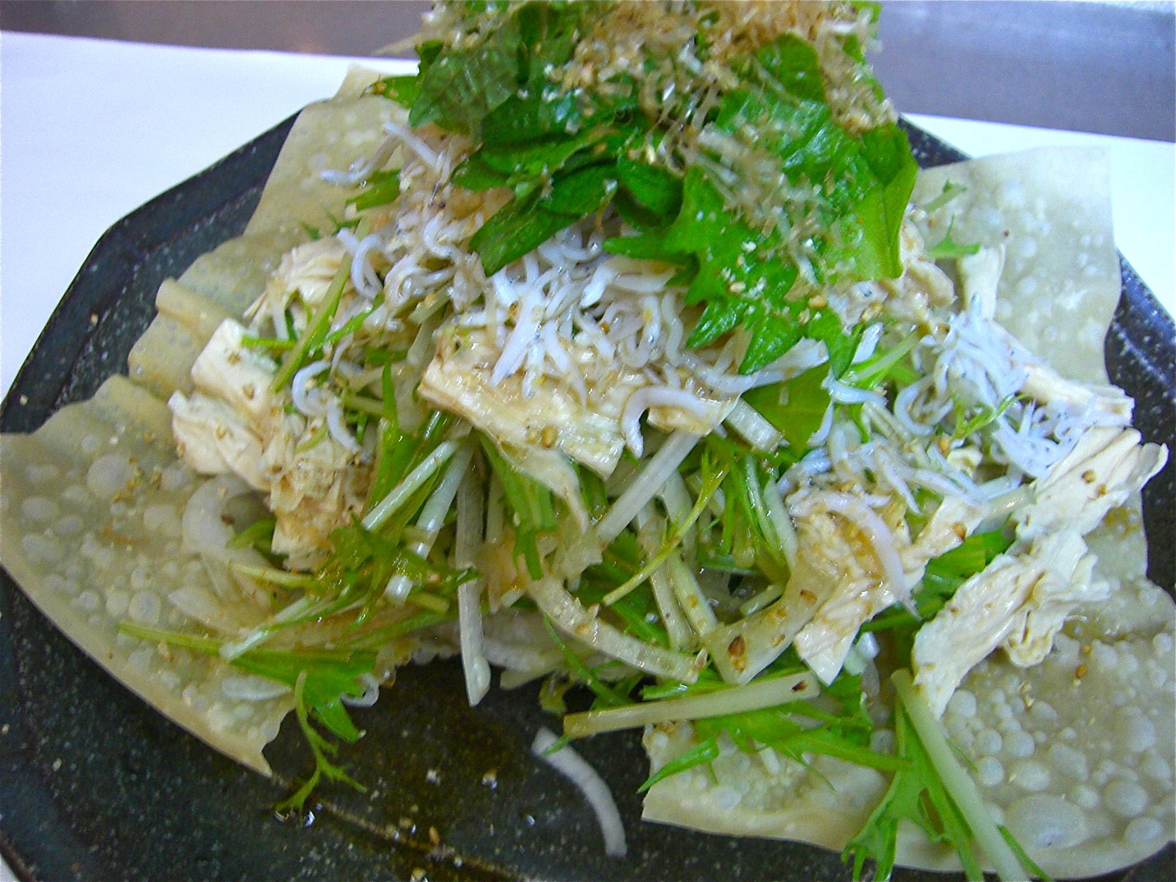 水菜 湯葉 しらすサラダ(しらす料理4)