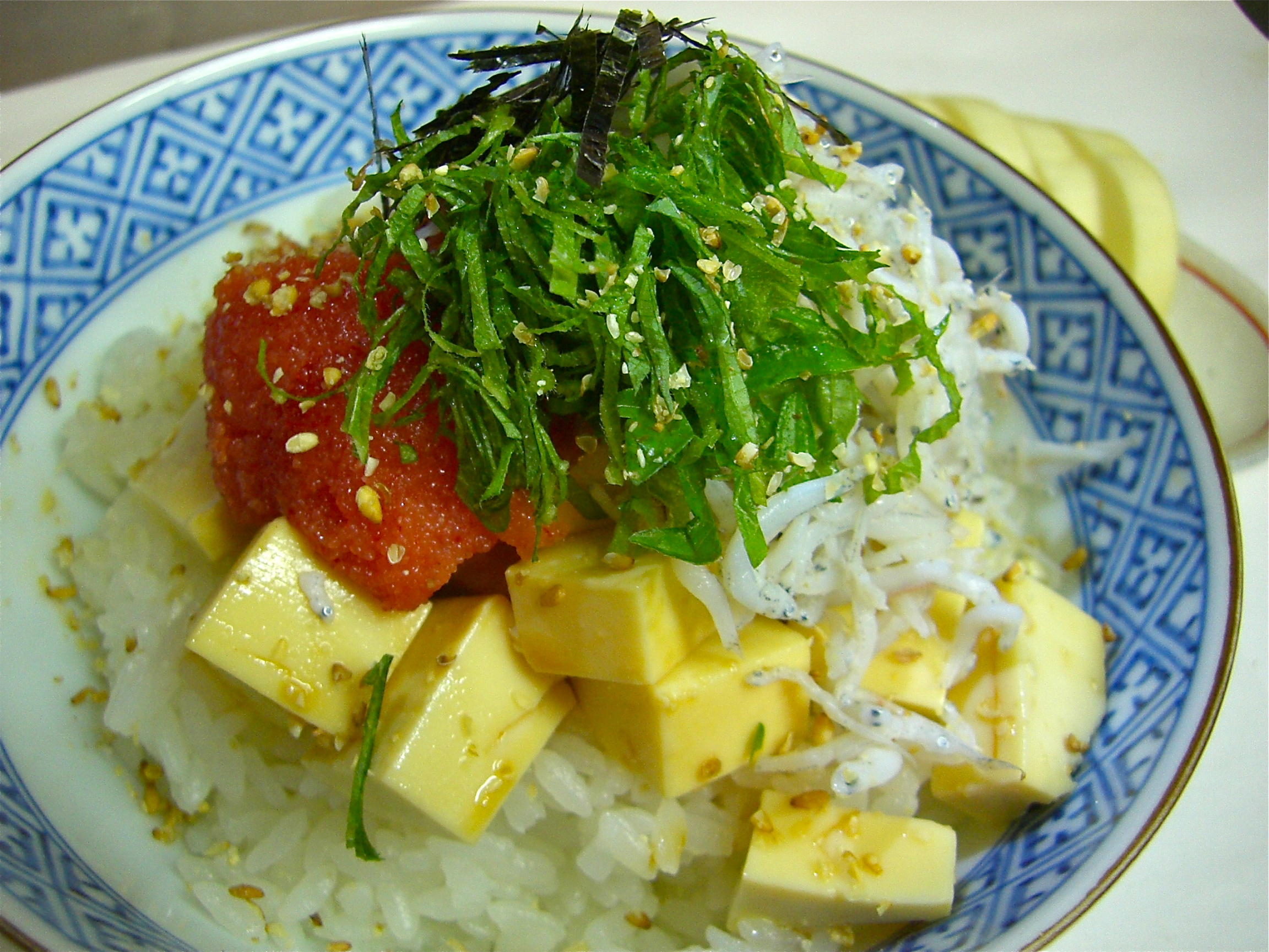 しらす豆腐明太子のせごはん(しらす料理3)