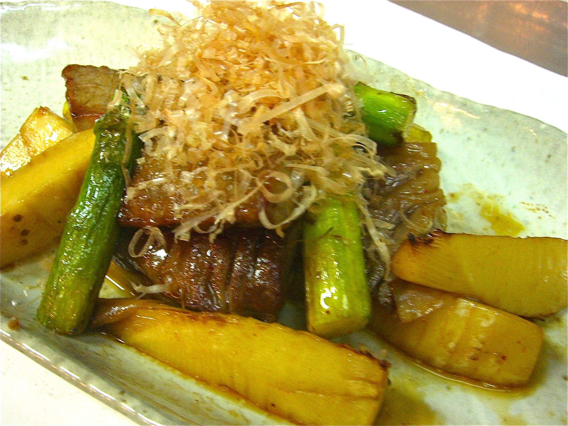 牛ロース 竹の子 アスパラ醤油焼