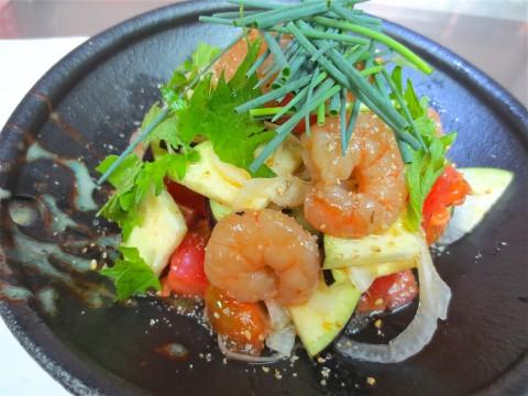 水茄子 トマト海老サラダ