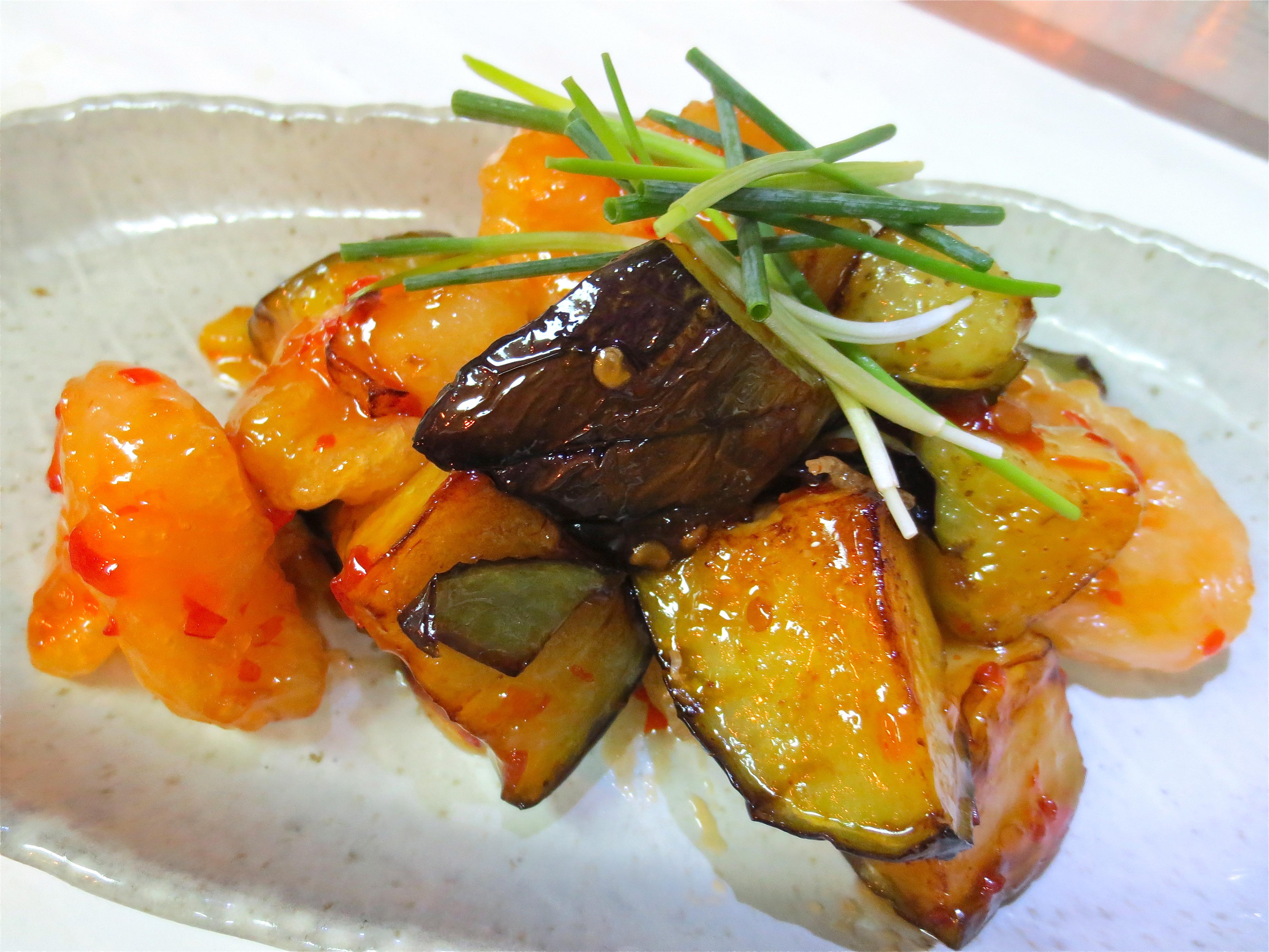 水茄子と海老チリソース炒め