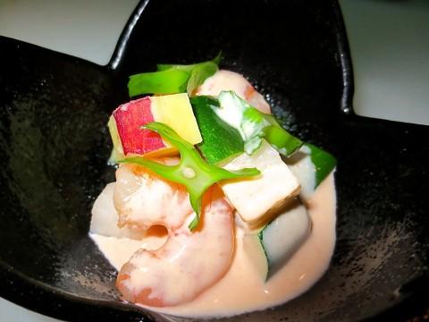 ズッキーニ さつま芋 海老の和え物