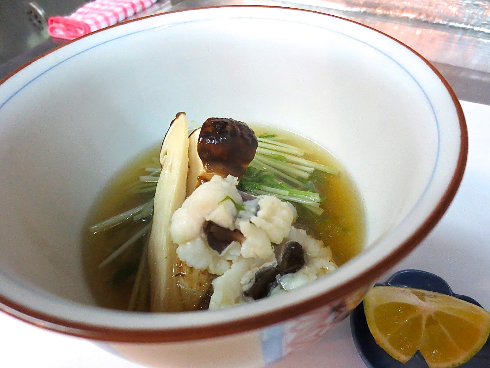 松茸と水菜と鱧のあっさり煮