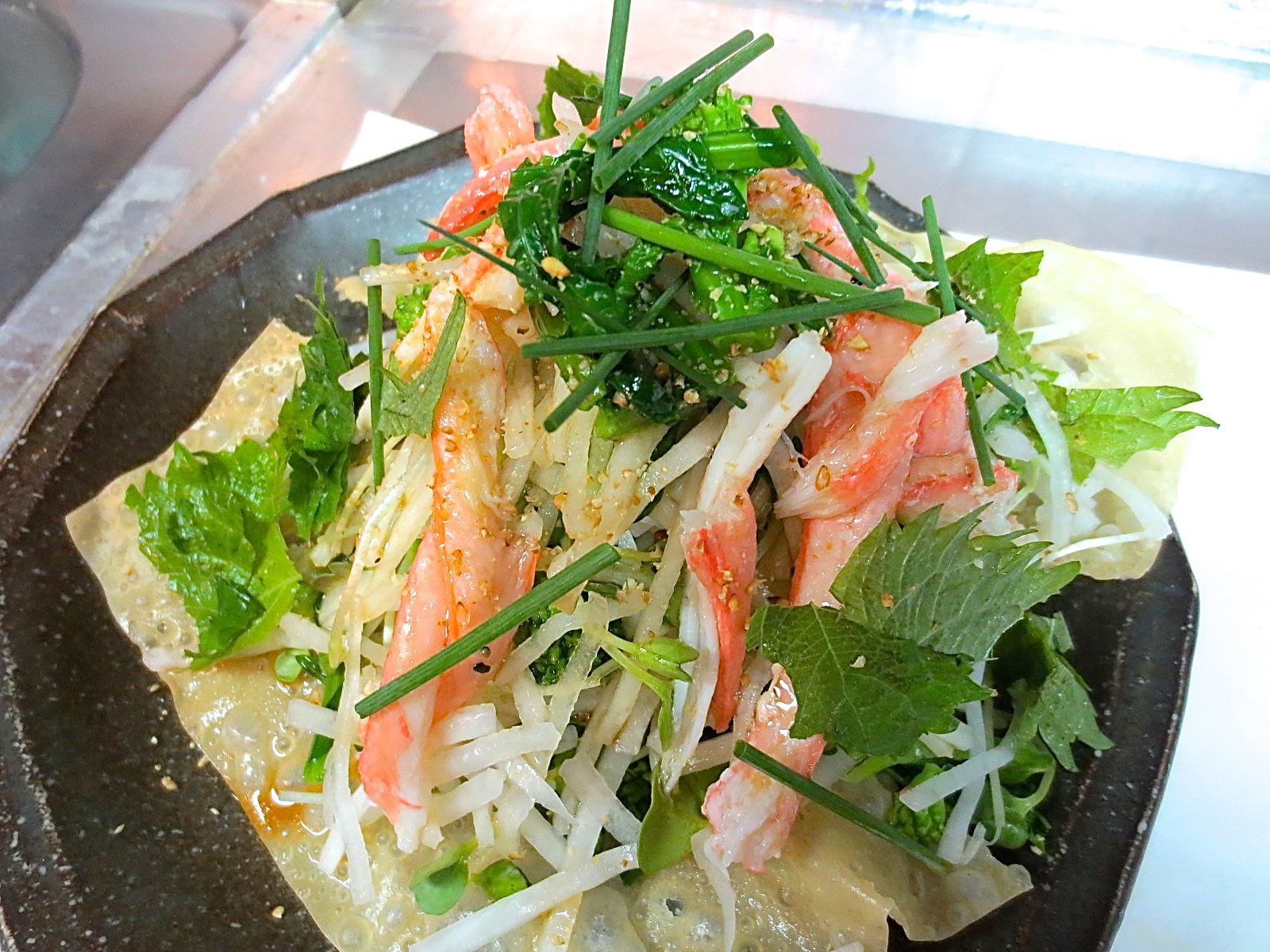 大根とかに身と菜の花サラダ