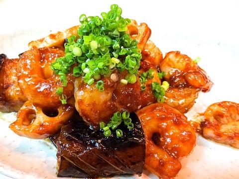 海老 茄子 蓮根味噌炒め