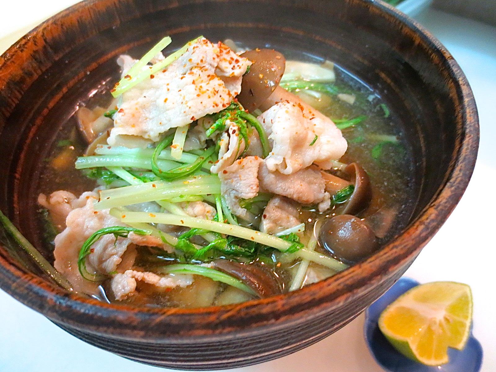 アグー豚と水菜 しめじあっさり煮