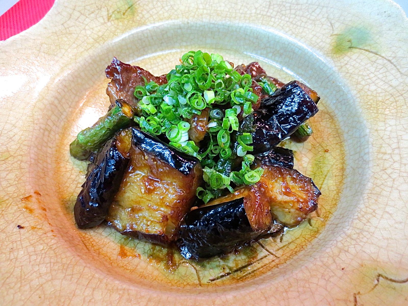 牛ロース 茄子 アスパラ味噌炒め