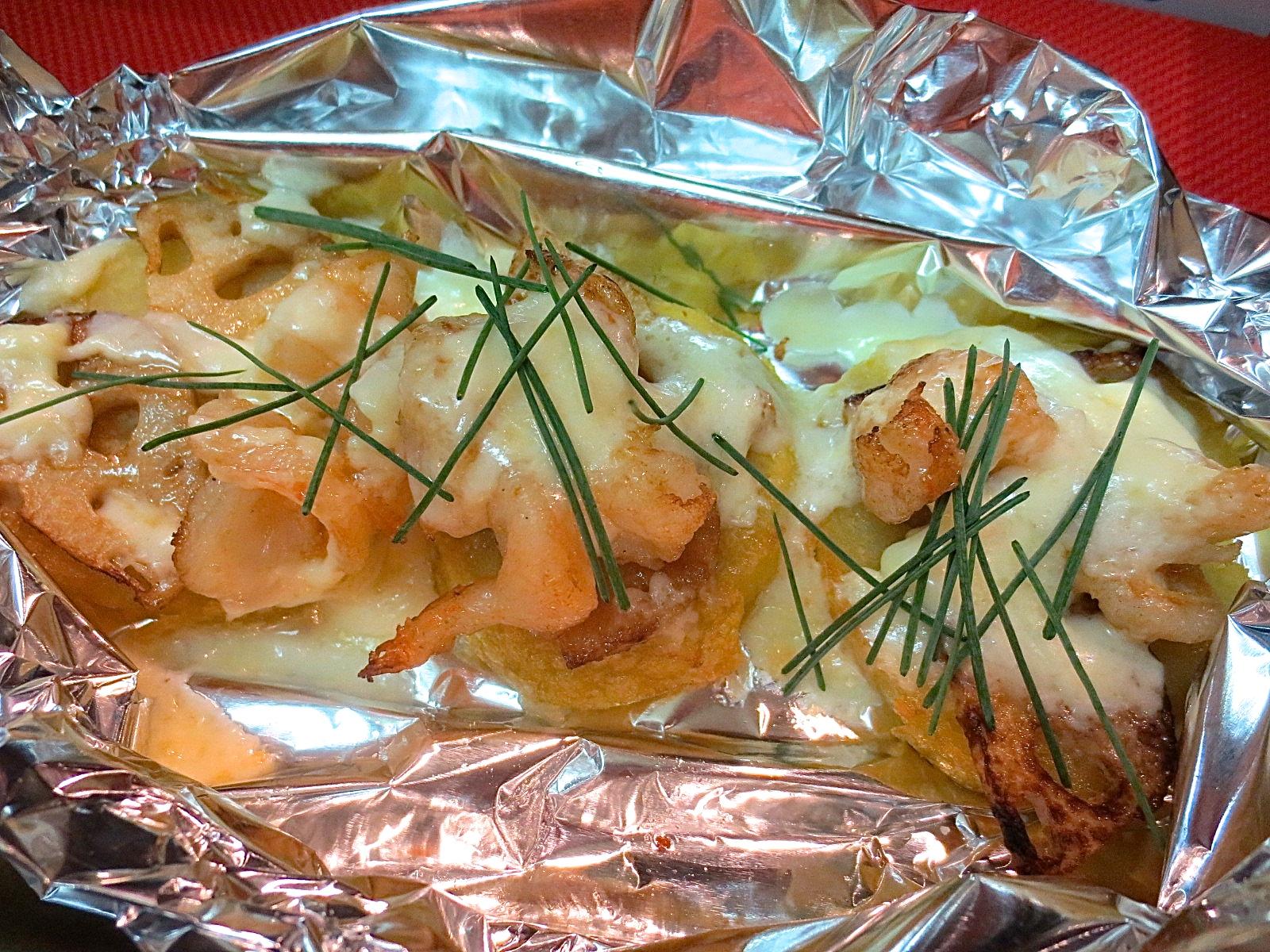 男爵芋と海老と蓮根マチーズ焼き