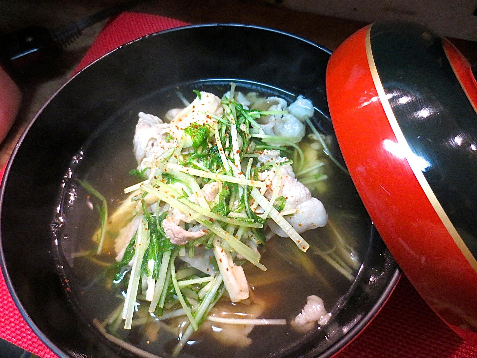 松茸と水菜とアグー豚あっさり煮