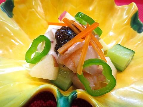 だんしゃく芋 胡瓜 海老和え物