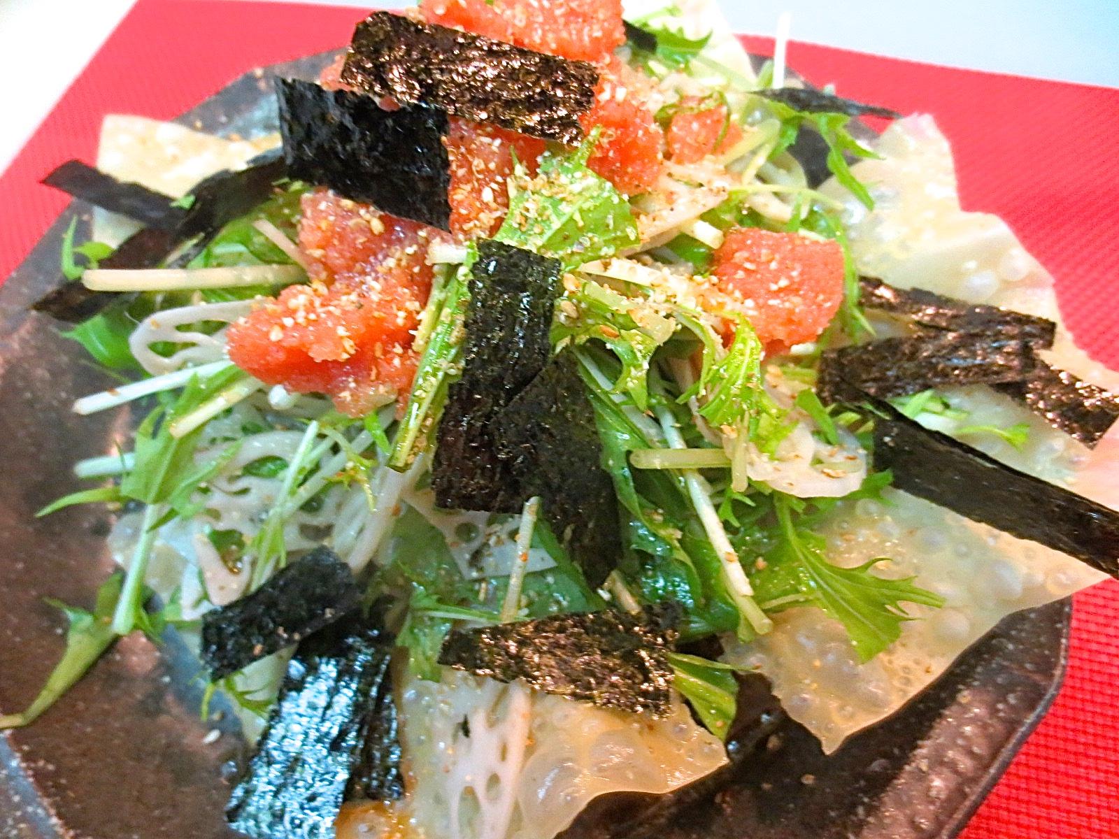 水菜と蓮根明太子サラダ