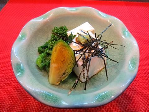 たら白子豆腐 菜の花 芽キャベツ