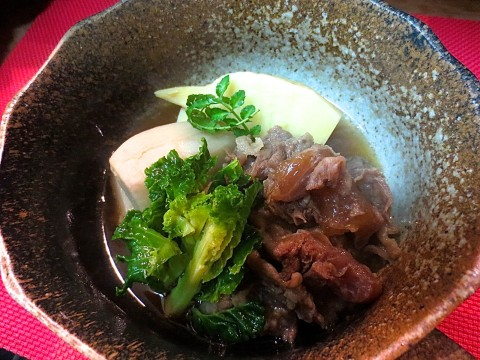 牛すじ、小芋、竹の子煮