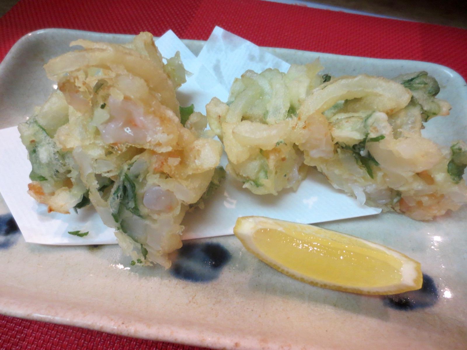 玉葱と海老と大葉かき揚げ