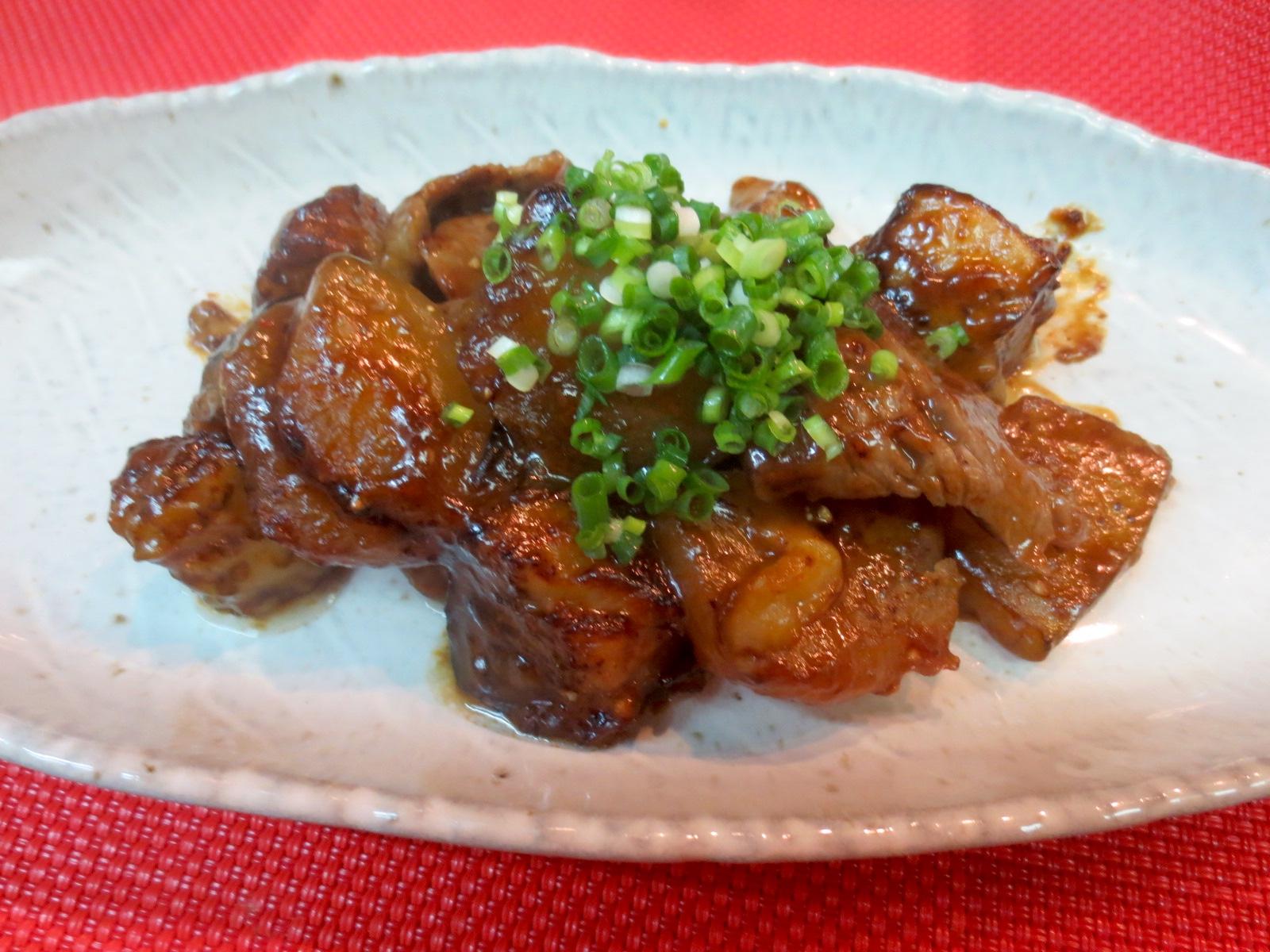 牛ロース、茄子、冬瓜味噌炒め