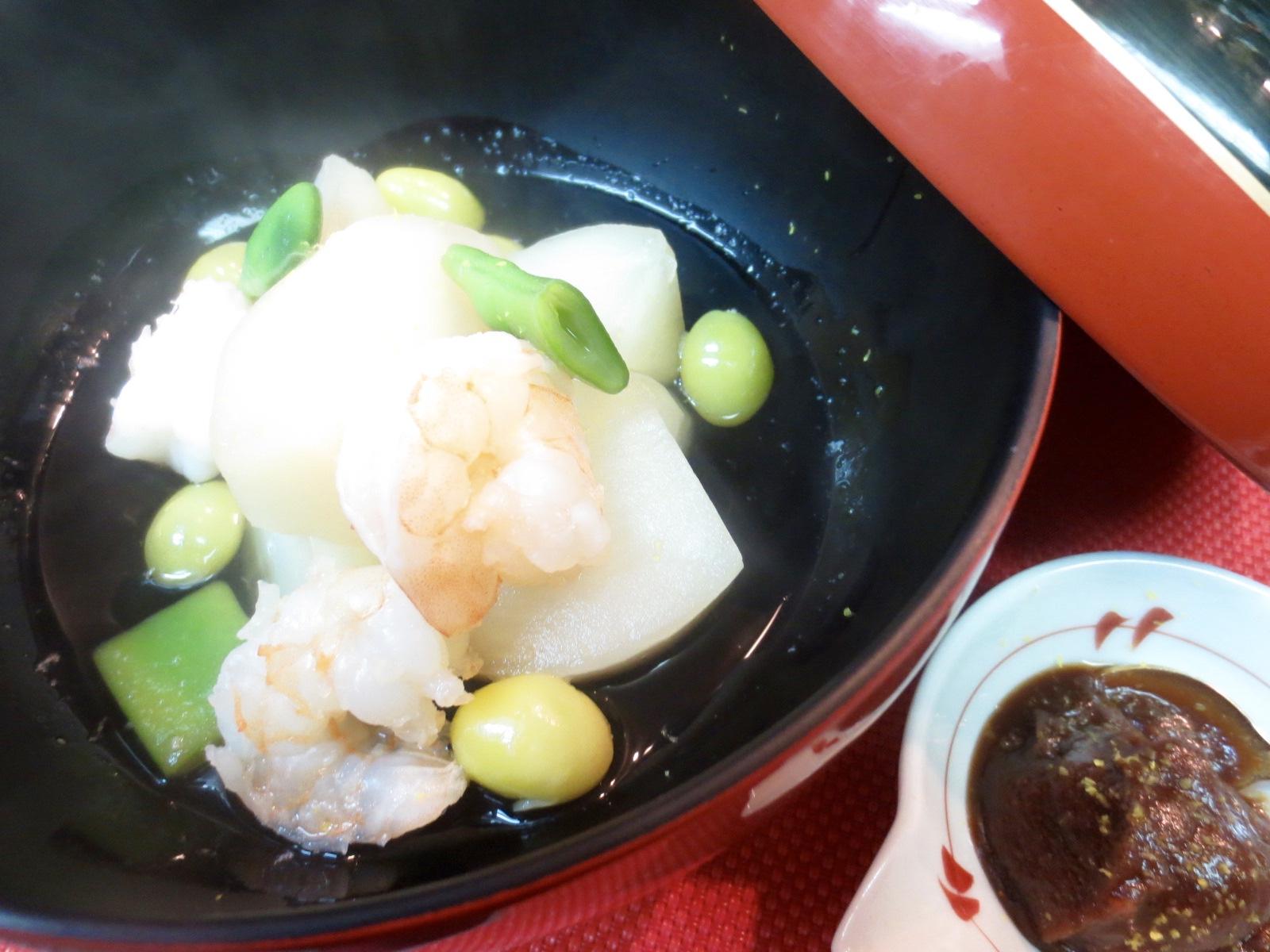 蕪と海老柚味噌かけ