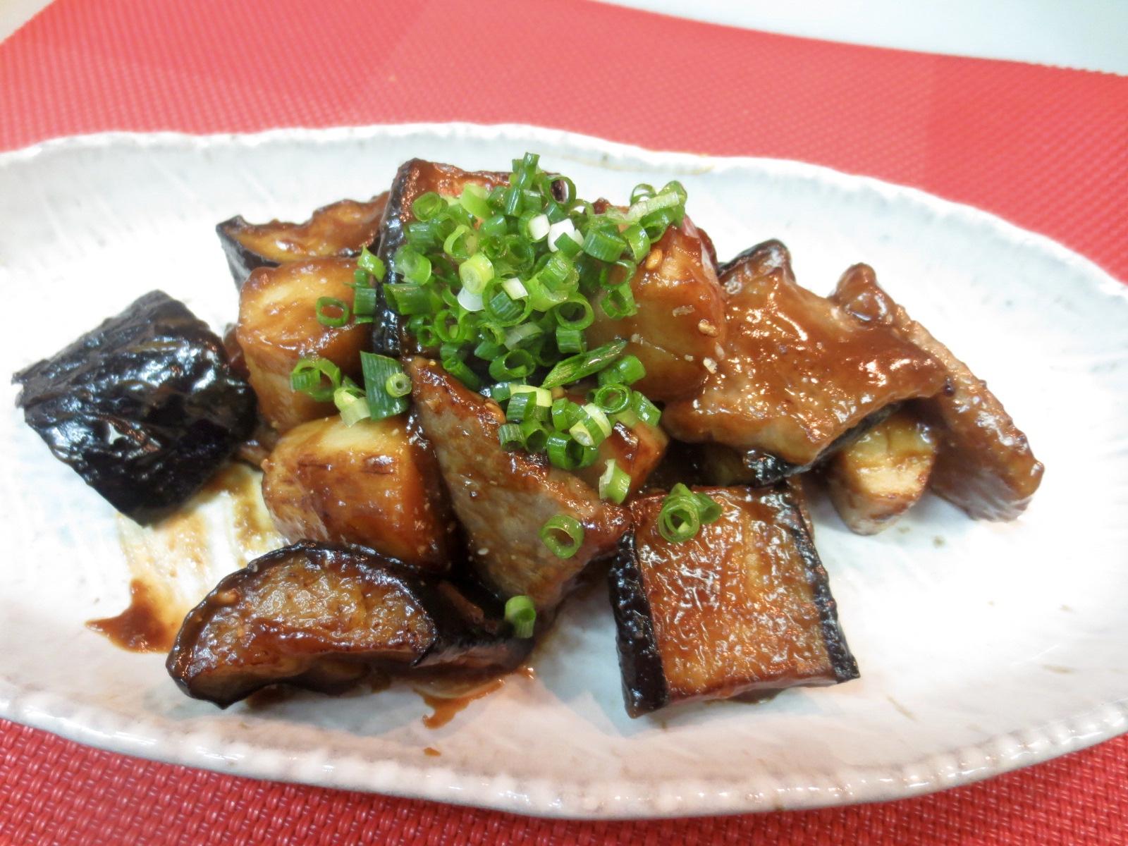 牛ロース、茄子、小芋味噌煮