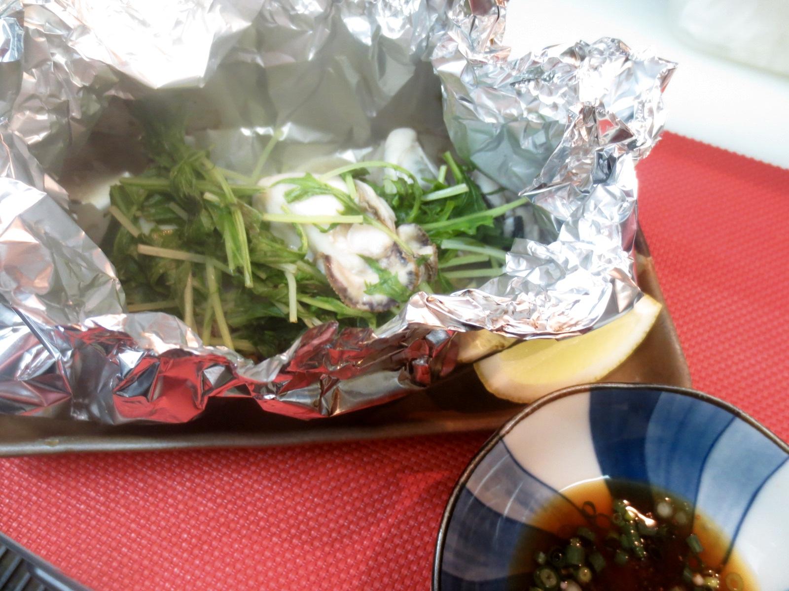 カキ、蓮根、水菜ホイル焼き
