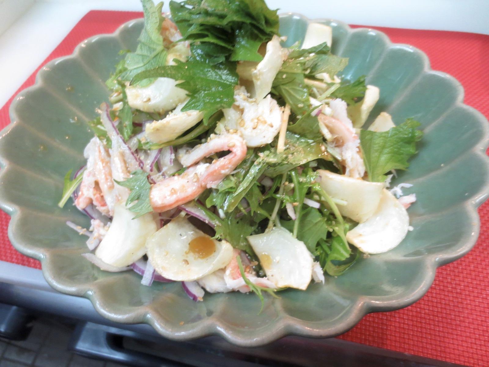 水菜、カニ身、百合根サラダ