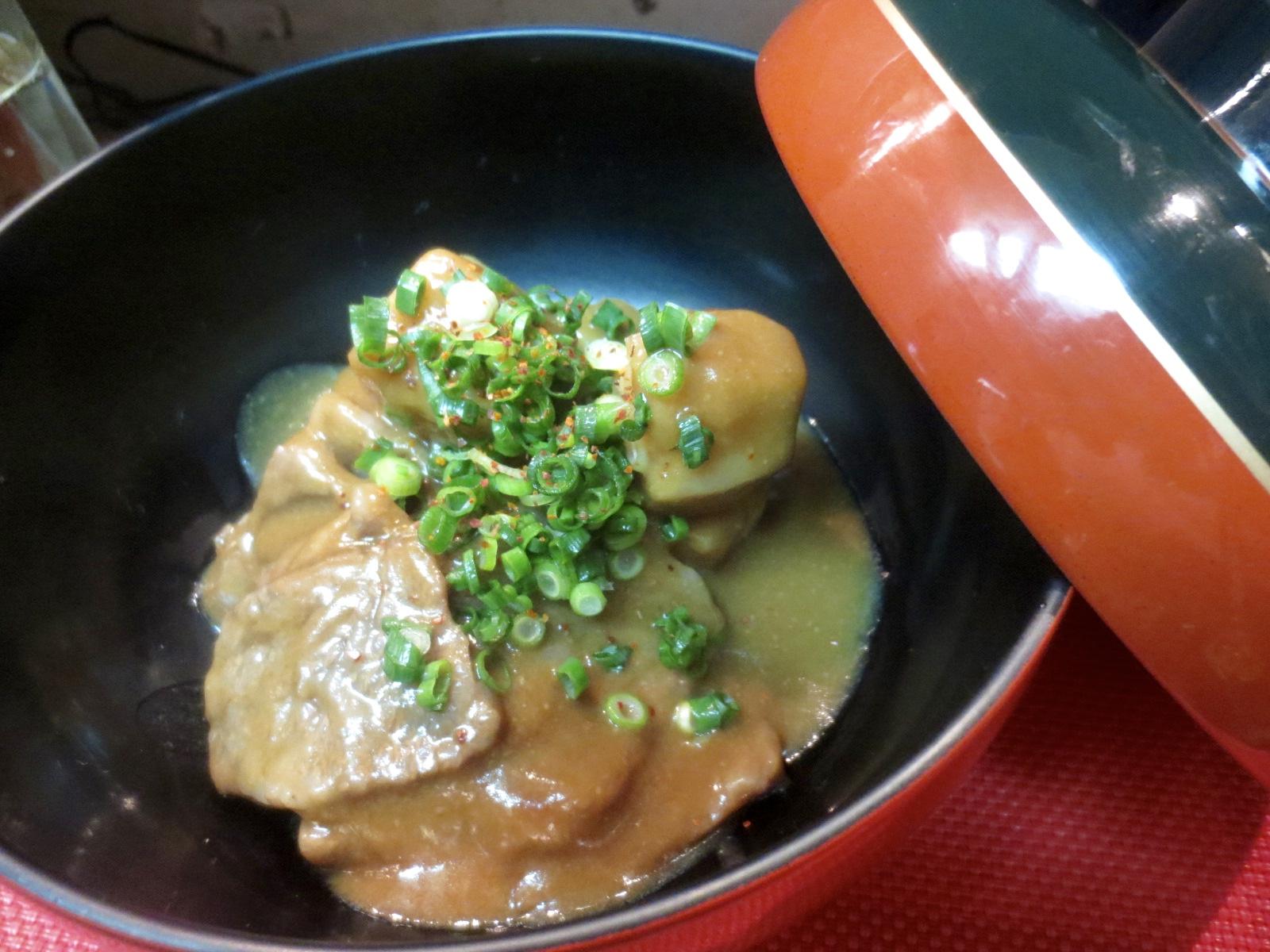 海老芋と牛ロース味噌煮