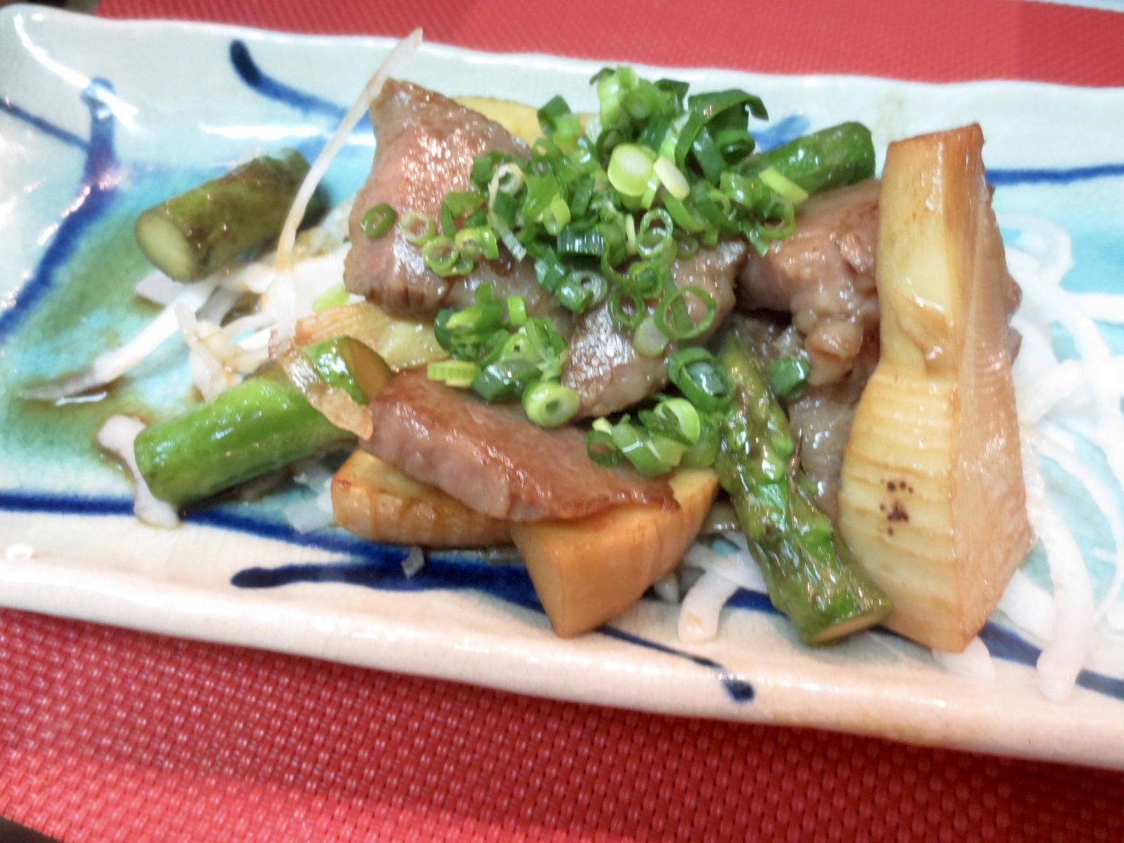 牛ロース、竹の子、アスパラ醤油炒め