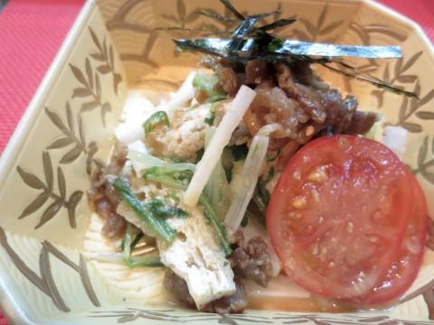 水菜、長芋、牛しぐれ和え物