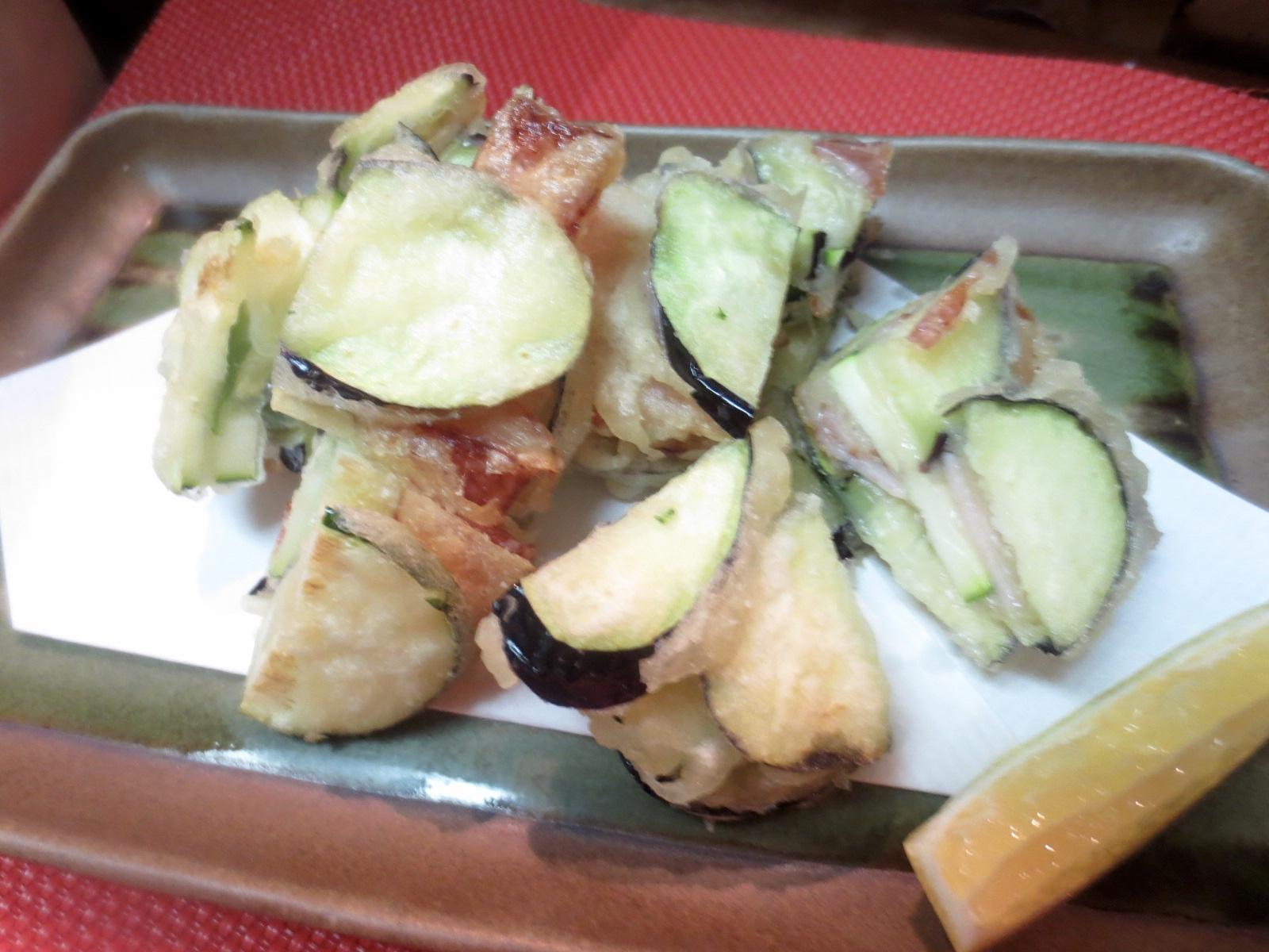 ズッキーニ、茄子、ベーコンかき揚げ