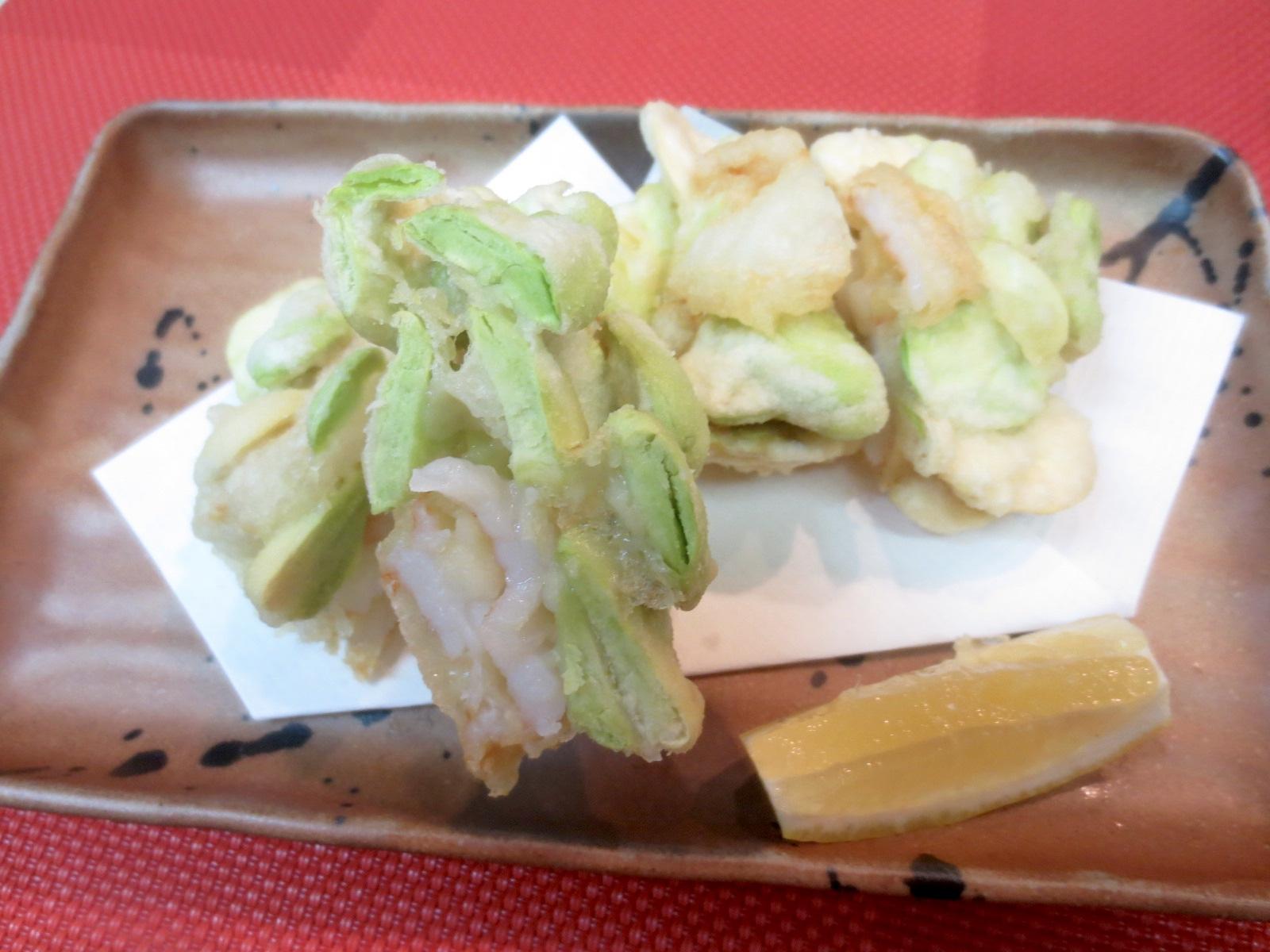 空豆と海老かき揚げ