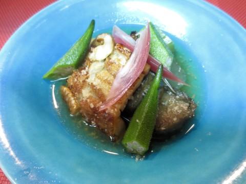 焼き穴子と夏野菜生姜酢