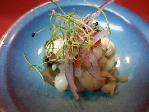 平豆、あわび茸、いたや貝和え物