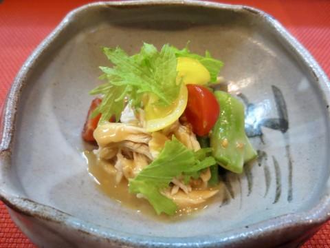 平豆、舞茸、蒸し鳥和え物