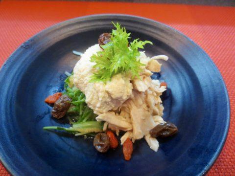 水菜、蒸し鳥、うす揚げ白和え