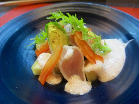 芽キャベツ、さつま芋、鳥タタキ和え物