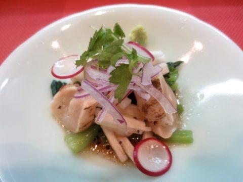 鳥タタキ、青梗菜、長芋和え物