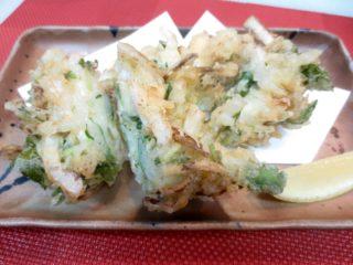 カニ身、玉葱、三つ葉かき揚げ