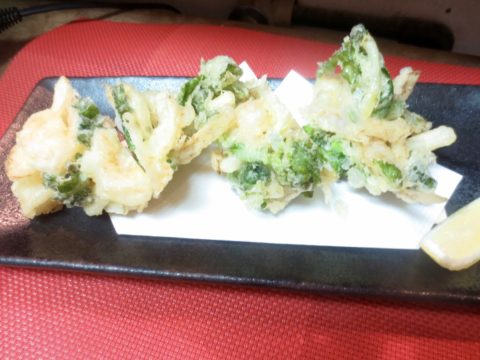 海老、菜の花、玉葱かき揚げ