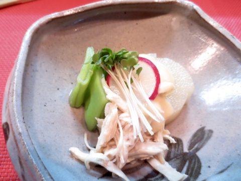 大根、平豆、蒸しとり味噌かけ