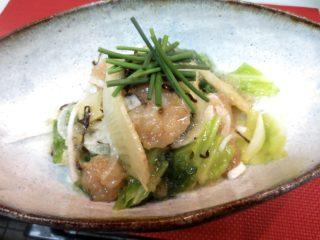 春キャベツ、竹の子、海老サラダ