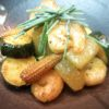 夏野菜と海老バター焼き