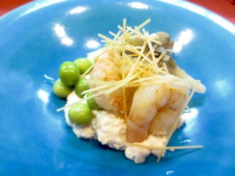 海老、きのこ、うすい豆白和え