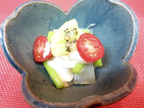 アスパラ。帆立、玉葱和え物