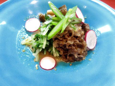 水菜、しめじ、牛しぐれ煮和え物