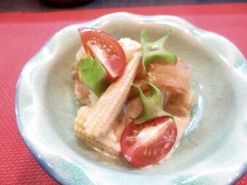 海老、ヤングコーン、芋和え物