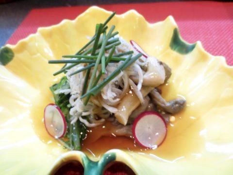 しらす、水菜、平茸和え物
