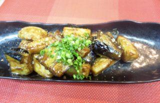 牛ロース、茄子、小芋味噌炒め